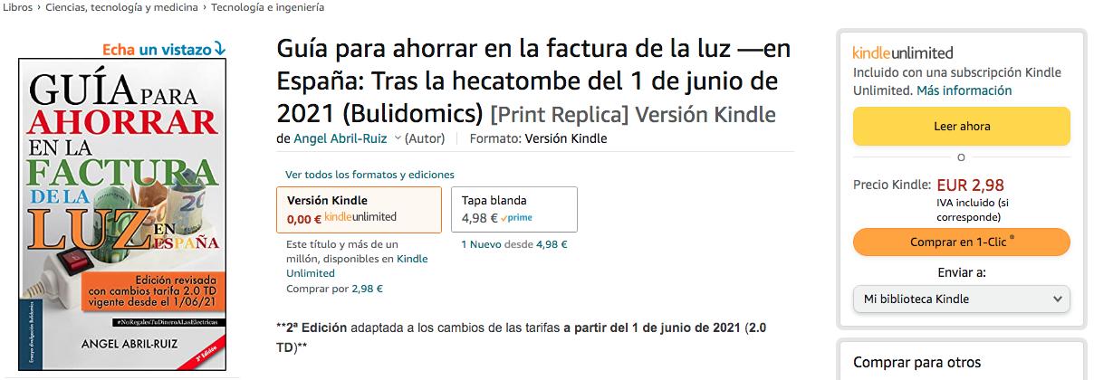 Captura venta amazon ebook-Kindle Guía para ahorrar en la factura de la luz. 2ª edición.