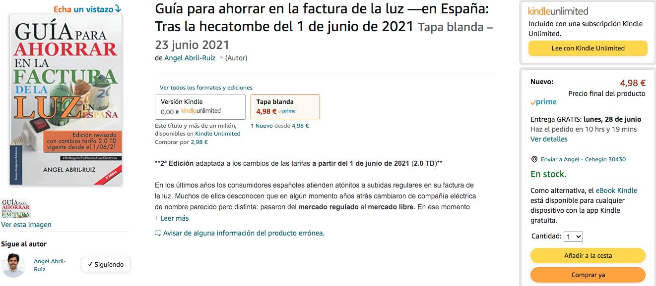 Captura venta amazon tapa blanda Guía para ahorrar en la factura de la luz. 2ª edición.
